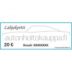 Autonhoitokauppa-lahjakortti, 20 euroa
